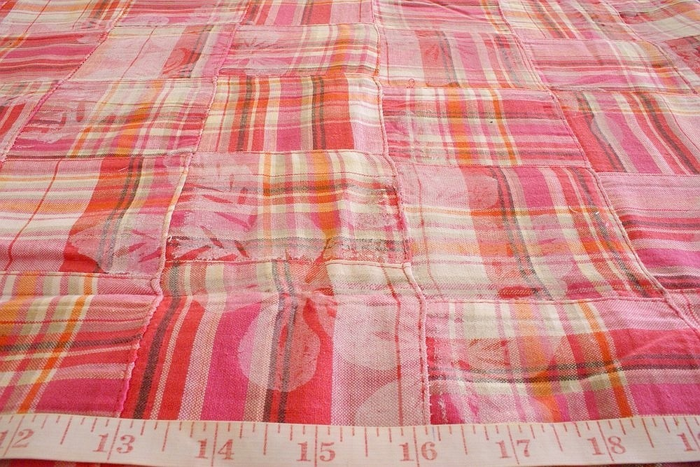 Patchwork Plaid Fabric with overprint, for children's clothing, women's dresses, etsy clothing, and preppy pet clothing.