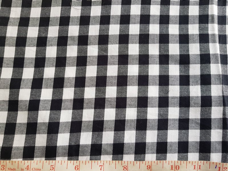 Gingham check fabric black and white plaid, in organic cotton
