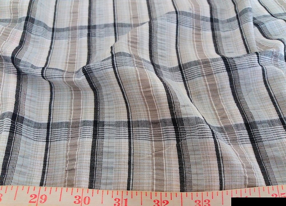 Seersucker Madras Fabric - Seersucker Plaid in a puckered weave for preppy clothing, seersucker bowties and children's clothing.