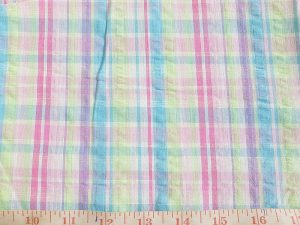 Seersucker madras plaid fabric, made of cotton in seersucker texture