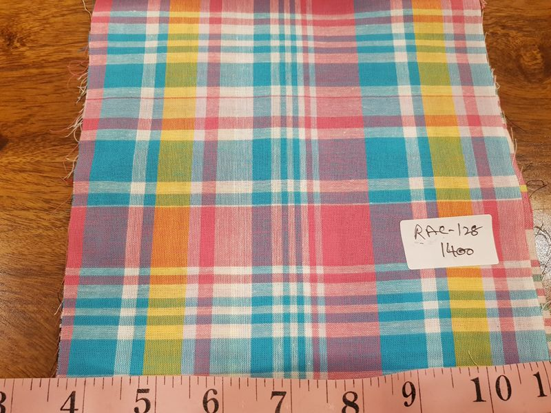 Madras fabric made of India cotton yarns, woven into a check pattern of several colors.