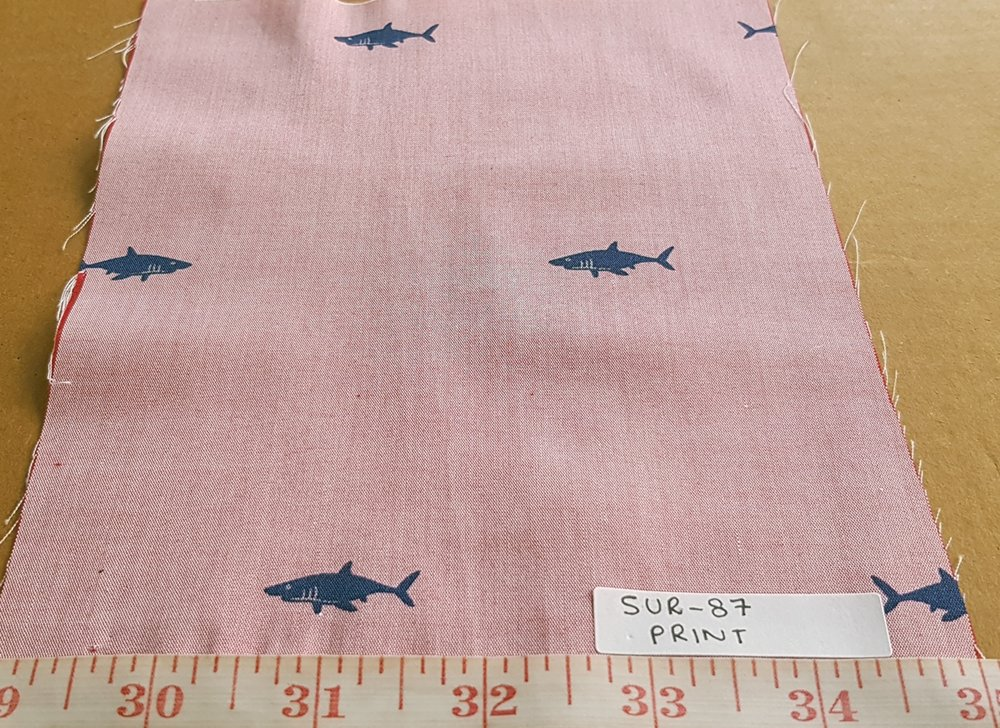 Cotton print fabric in shark theme print