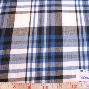 madras fabric in blue black and white