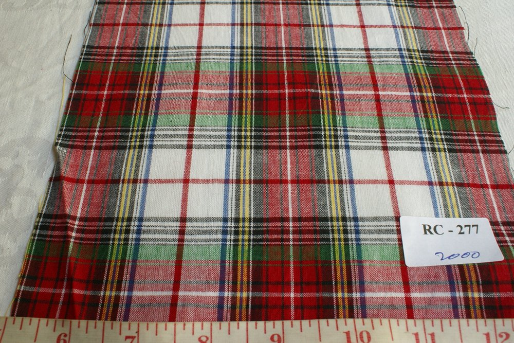 Preppy plaid Fabric in red, white, green, yellow madras checks, made for shirts, shorts, jackets, ties, bowties, belts, headbands and bracelets
