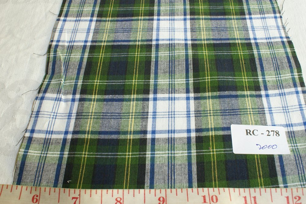 Madras Fabric in green, blue and white colors
