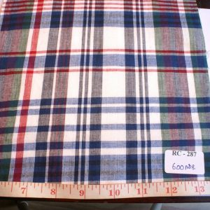 Madras preppy fabric in colors of royal blue, red, white and green, for preppy clothing like preppy madras shirts, preppy shorts