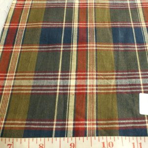Madras Fabric in mud brown, blue, red and fawn