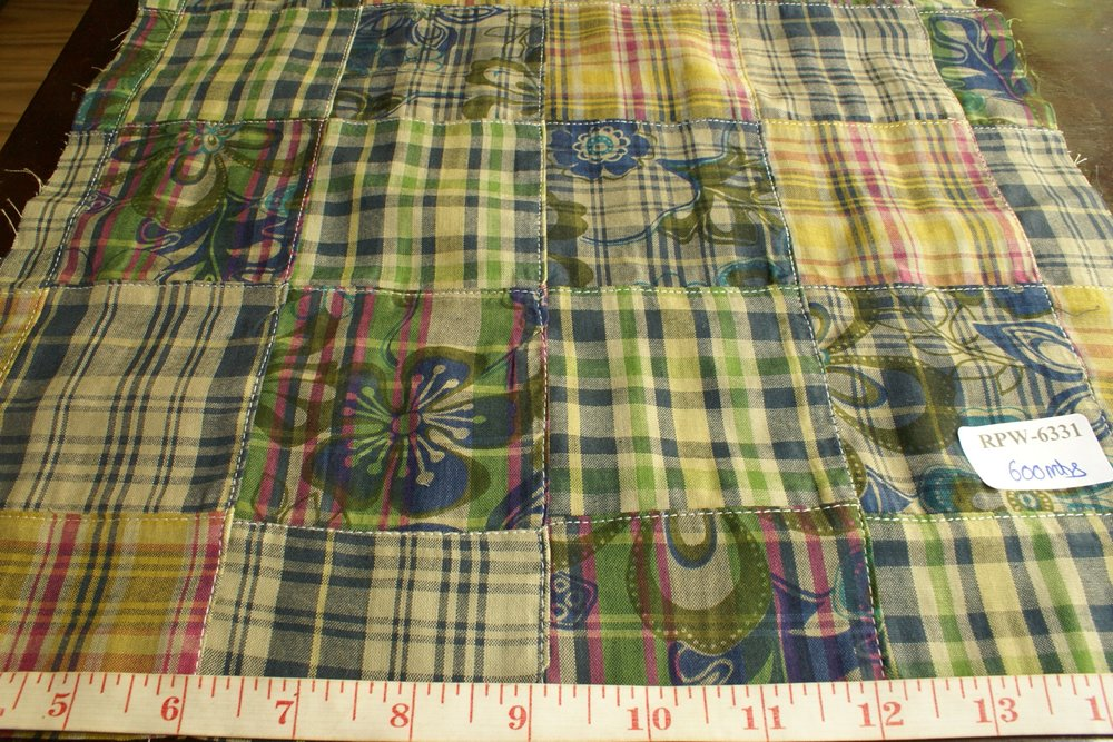 Patchwork Plaid & Floral Print Fabric - plaid madras squares sewn together, for girl's clothing, smocked clothing, monogrammed apparel, handmade items
