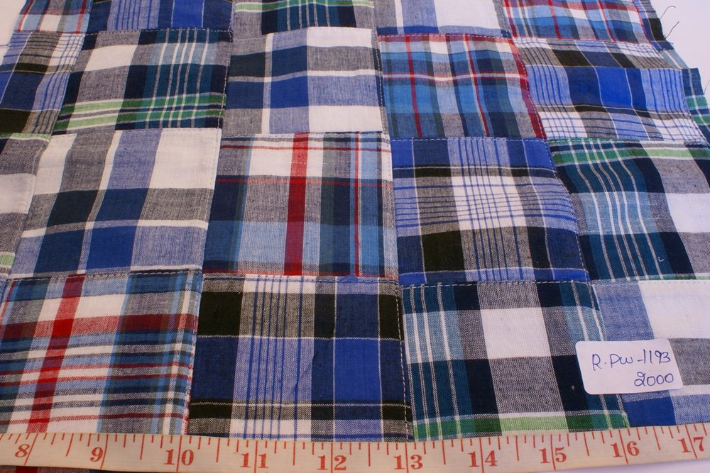 Patchwork Madras Fabric made of various Indian cotton madras plaids sewn together, suitable for preppy shirts, shorts, menswear and children's apparel.