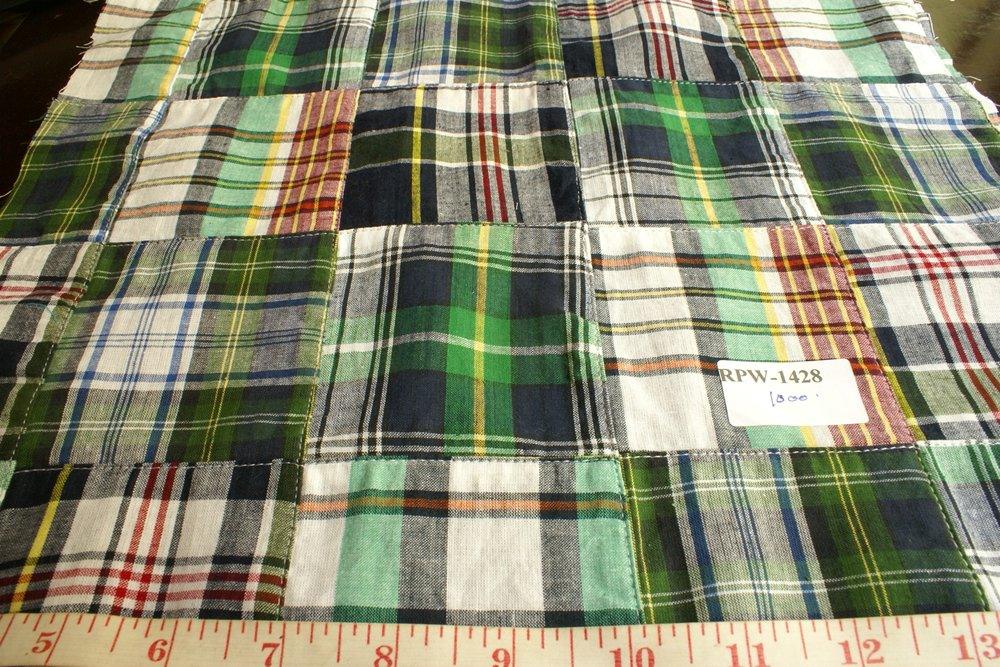 Patchwork Madras Plaid Fabric for sewing preppy clothing, preppy craft projects, preppy accessories, handmade clothing & madras bedding.