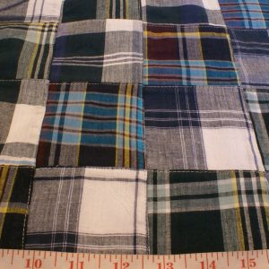 Patchwork Madras Fabric made of various Indian cotton madras plaids sewn together, suitable for preppy shirts, shorts, menswear.