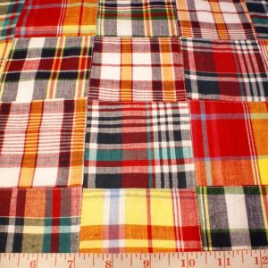 Patchwork Madras Fabric - plaid madras squares sewn together, for girl's clothing, smocked clothing, monnogramed apparel, handbags, tote bags and headbands