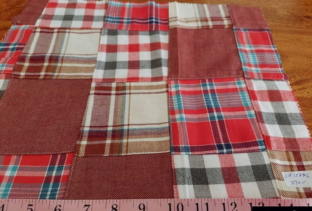 Patchwork Flannel Madras - patchwork plaid fabric made of plaids of various colors, used for preppy menswear & classic children's clothing.
