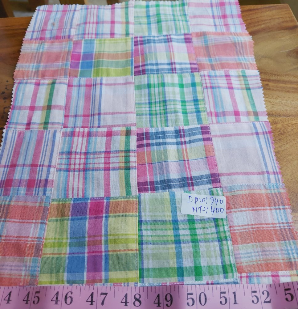 Patchwork madras fabric for preppy clothing