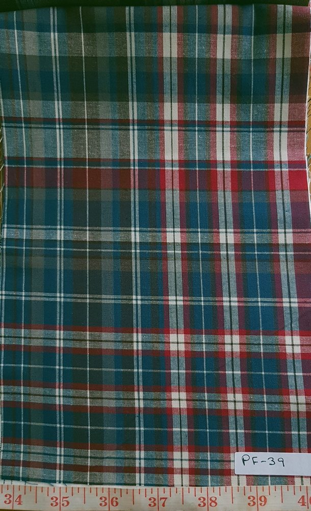 Plaid Fabric made of cotton woven in a plaid pattern, for madras shirts, madras jackets, ties, bowties & pet clothing.Also known as check fabrics.