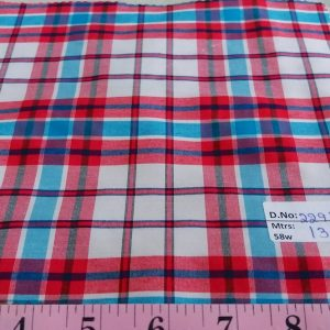 Plaid Fabric or check fabric, made of cotton woven in a plaid pattern, for madras shirts, madras jackets, ties, bowties & pet clothing.