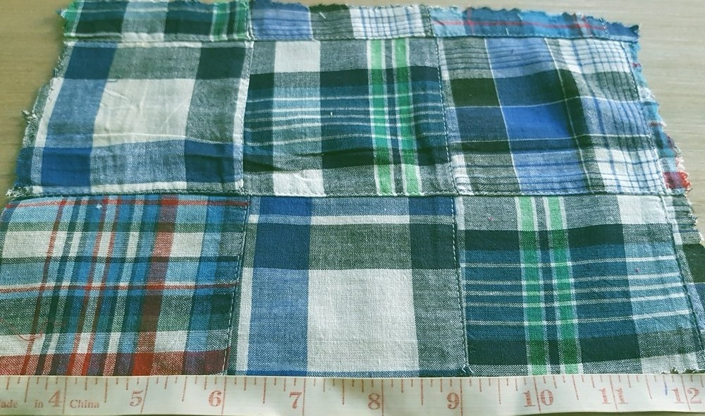 Patchwork Plaid - A preppy fabric made of cotton plaid patches sewn together, perfect for Ivy League style madras shirts, jackets and ties.
