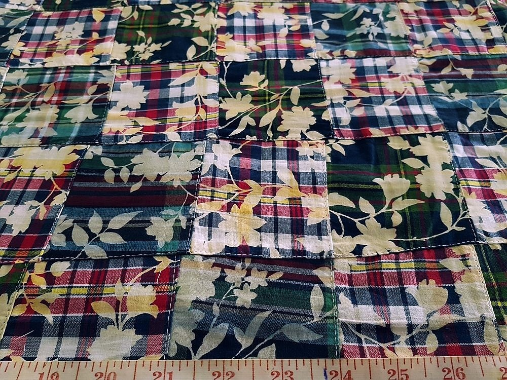 Patchwork Madras Fabric in preppy colors for vintage clothing, like men's shirts, madras sport coats, jackets, classic clothing and vintage apparel.