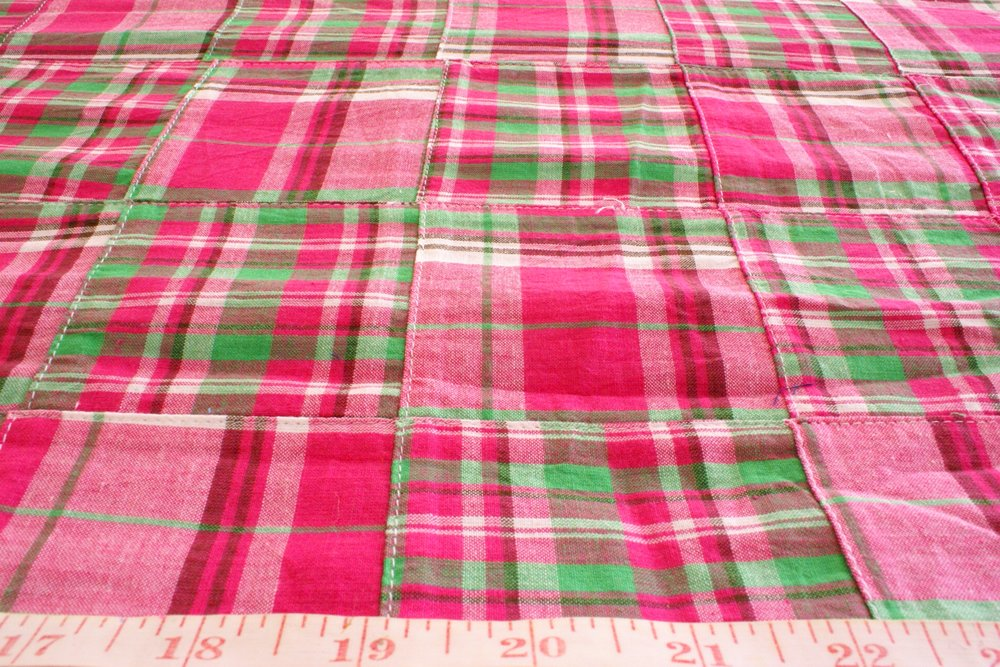 Patchwork Plaid - Madras cotton plaid fabric patches sewn together into a fabric ideal for preppy clothing, kid's clothing and menswear.