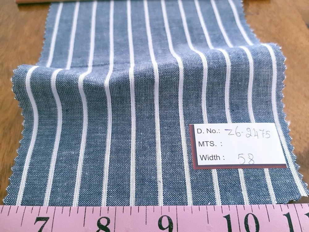 Cotton Chambray Stripes - Stripe Fabric for chambray shirts, preppy menswear, chambray clothing, chambray ties and chambray dresses.