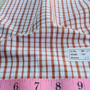Tattersall Plaid or Tattersall Check Fabric, with vertical stripes that repeat horizontally, forming squares, for children's clothing and menswear.