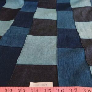 Denim patchwork fabric - patchwork fabric made by sewing together several denim fabrics, into one fabric, for vintage clothing.