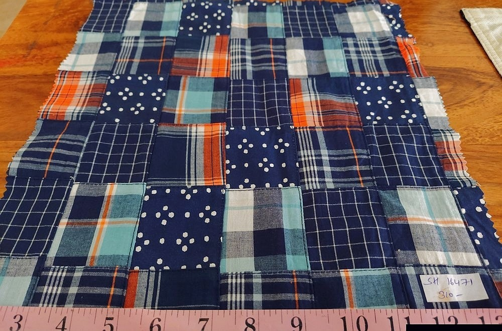 Patchwork fabric like printed patchworks, chambray patchwork, denim patchwork, solid patchwork fabrics and patchwork plaid.