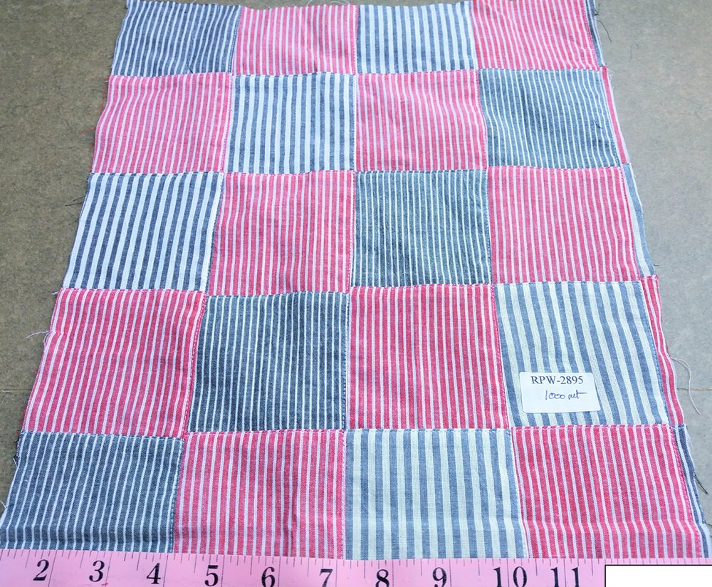 Patchwork Fabric made of cotton chambray stripes sewn together, perfect for classic children's clothing, menswear and preppy style.