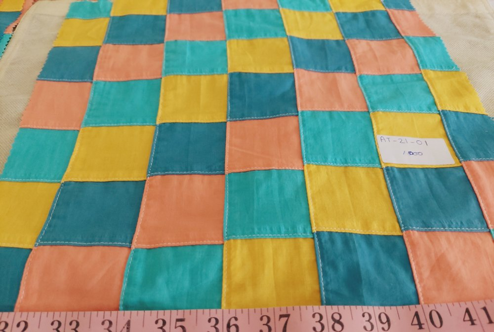 Patchwork Fabric with solid color patches, for classic children's clothing, handmade kids clothing, etsy makers, for kid's sewing projects and crafts.