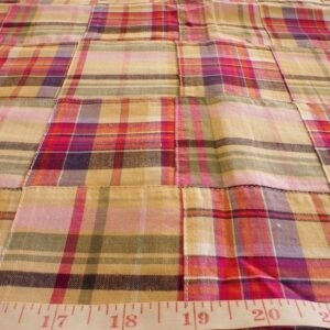 Patchwork Plaid Fabric with overprint, for children's clothing, women's dresses, handmade etsy clothing, and preppy pet clothing.