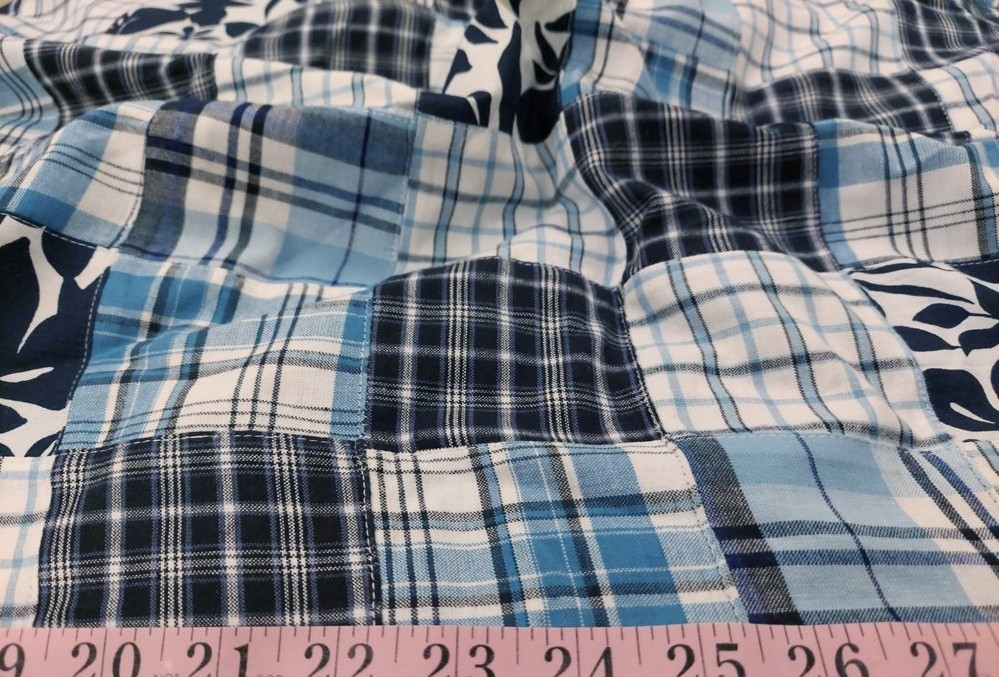 Patchwork Fabric - patchwork plaid fabric made of plaids & printed patches, used for preppy menswear & classic children's clothing.
