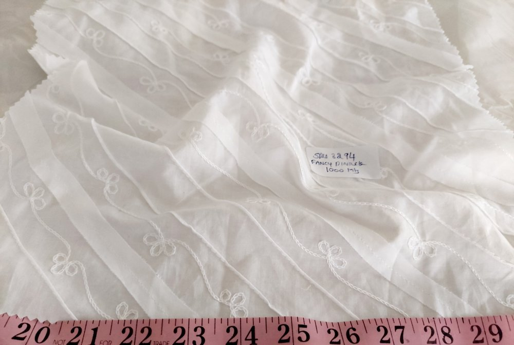 Embroidered Fabric made with thread embroidery on a cotton voile fabric, used for vintage clothing, heirloom clothing & bridal dresses.